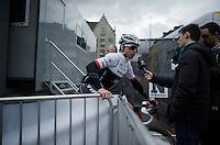 Stijn Devolder (BEL/Trek-Zegafredo) interviewed at the start<br /> <br /> 71st Dwars door Vlaanderen (1.HC)