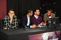 Pictured L-R: Lukasz Fabianski, Neil Taylor, Leon Britton and Ashley Williams Thursday 08 April 2016<br />Re: Zimkids dinner at the Liberty Stadium, Swansea, UK