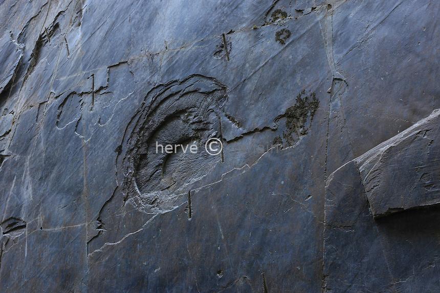 France, Corrèze (19), Donzenac, Travassac, site des Pans de Travassac, ancienne carrière d'ardoise, impact en forme d'escagot de tir de mine // France, Correze, Donzenac, Travassac, Pans de Travassac, old slate quarry