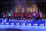 09.06.2019, ISS Dome, Duesseldorf,  GER, 1. HBL. Herren, BHC vs. SG Flensburg Handewitt, <br /> <br /> im Bild / picture shows: <br /> nach dem Spiel  feiern die Flensburger Spieler den Sieg und die Meisterschaft in der 1. HBL mit Sektdusche, Jubel, Freude<br /> <br /> <br /> Foto © nordphoto / Meuter