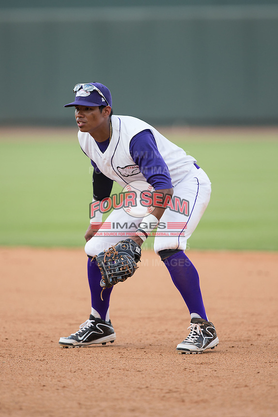 Winston-Salem Dash first baseman T.J. Williams (4) on defense against the Salem Red Sox at BB&T Ballpark on May 31, 2015 in Winston-Salem, North Carolina.  The Red Sox defeated the Dash 6-5.  (Brian Westerholt/Four Seam Images)