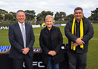 From left, Deryck Shaw (NZ Football), Annette King (MP for Rongotai) and Paul Eagle (Wellington City Council) during the Oceania Football Championship final (second leg) football match between Team Wellington and Auckland City FC at David Farrington Park in Wellington, New Zealand on Sunday, 7 May 2017. Photo: Dave Lintott / lintottphoto.co.nz
