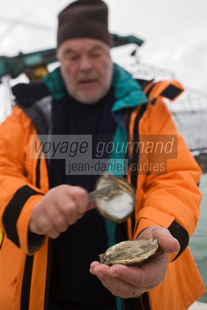 Europe/France/Bretagne/29/Finistère/Riec-sur-Belon: Huitres Cadoret - Jacques Cadoret, ostréiculteur, ouvre une huître plate , Belon,  sur un chaland ostréicole