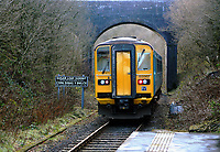 The Arriva Trains Wales service to Swansea departs from Sugar Loaf railway station, the most remote station on the Heart of Wales Line, situated by the A483 road, Powys, Wales, UK. Friday 01 December 2017