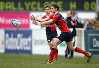 4 March 2013; Ballyclare winger James McKee moves play wide during the schools cup semi-final clash between RBAI and Ballyclare High School at Ravenhill Belfast. Photo Credit : John Dickson / DICKSONDIGITAL