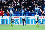 Stockholm 2014-04-06 Fotboll Allsvenskan Djurg&aring;rdens IF - Halmstads BK :  <br /> Djurg&aring;rdens Amadou Jawo har gjort 3-0 och jublar med Djurg&aring;rdens Aleksandar Prijovic och Djurg&aring;rdens Alexander Faltsetas  <br /> (Foto: Kenta J&ouml;nsson) Nyckelord:  Djurg&aring;rden DIF Tele2 Arena Halmstad HBK jubel gl&auml;dje lycka glad happy