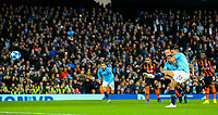 Manchester City's Gabriel Jesus scores his side's fourth goal from the penalty spot<br /> <br /> Photographer Alex Dodd/CameraSport<br /> <br /> UEFA Champions League Group F - Manchester City v Shakhtar Donetsk - Wednesday 7th November 2018 - City of Manchester Stadium - Manchester<br />  <br /> World Copyright © 2018 CameraSport. All rights reserved. 43 Linden Ave. Countesthorpe. Leicester. England. LE8 5PG - Tel: +44 (0) 116 277 4147 - admin@camerasport.com - www.camerasport.com