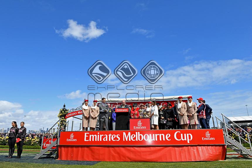 Melbourne Cup winner Rekindling (GB) presentations.   Owner Lloyd Williams, Jockey Corey Brown and Trainer Joseph O'Brien<br /> 2017 Melbourne Cup horse racing, <br /> Flemington Racecourse, Melbourne, Australia. <br /> Tuesday 7 November 2017. <br /> &copy; Sport the library / Jeff Crow