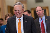 United States Senate Minority Leader Chuck Schumer (Democrat of New York) speaks on Capitol Hill in Washington, DC, February 26, 2019. Credit: Chris Kleponis / CNP