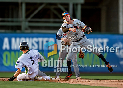 29 August 2019: Connecticut Tigers infielder Ryan Kreidler turns a double-play in the 3rd inning against the Vermont Lake Monsters at Centennial Field in Burlington, Vermont. The Tigers defeated the Lake Monsters 6-2 in the first game of their NY Penn League double-header.  Mandatory Credit: Ed Wolfstein Photo *** RAW (NEF) Image File Available ***