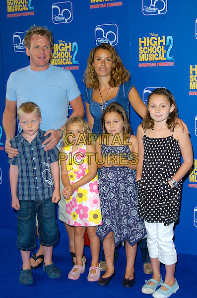 "GORDON RAMSAY, TANA RAMSAY & CHILDREN.Attends the European Premiere of Disney's ""High School Musical 2"" at the O2 Centre, Greenwich, London, England, September 2nd 2007. .full length kids son Jack Meagan, Holly, Matilda, Tilly daughter father dad family wife husband .CAP/CAN.©Can Nguyen/Capital Pictures"
