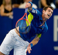 Andy Murray (GBR) against Tommy Robredo (ESP) in the final between Great Britain and Spain. Tommy Robredo (ESP) beat Andy Murray (GBR) 1-6 6-4 6-3..International Tennis - Hyundai Hopman Cup XXII - Sat 00 Jan 2010 - Burswood Dome - Perth - Australia ..© Frey - AMN Images, 1st Floor Barry House, 20-22 Worple Road, London, SW19 4DH