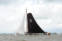 SKÛTSJESILEN: WOUDSEND: 27-07-2015, SKS kampioenschap 2015, winnaar werd het skûtsje van Grou met schipper Douwe Azn. Visser, ©foto Martin de Jong