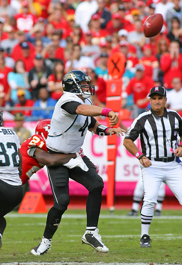 TODD BOUMAN, of the Jacksonville Jaguars in action during the Jaguars game against the Kansas City Chiefs on October 24, 2010 at Arrowhead Stadium in Kansas City, MO...Chiefs beat the Jaguars 42-20