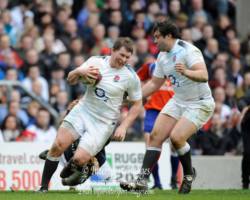 Twickenham, GREAT BRITAIN,   Front row move,  [L] Dylan HARTLEY and [R] Alex CORBISIERO.  during the 2011 Six Nations Rugby match, England vs Scotland. Played at the RFU Stadium Twickenham, Surrey on Sunday  13/03/2011 [Mandatory Credit, Peter Spurrier/Intersport-images]