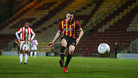 Eliot Goldthorp of Bradford City U18 scores a penalty to make it 1-0 during the FA Youth Cup match between Bradford City U18 and Stoke City U18 at the Northern Commercial Stadium, Bradford, England on 12 December 2019. Photo by Thomas Gadd.
