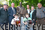 John ODonoghue at the Johnny OLeary sculpture with Johnnys wife Lil and grandchildren Daniel and Brian..