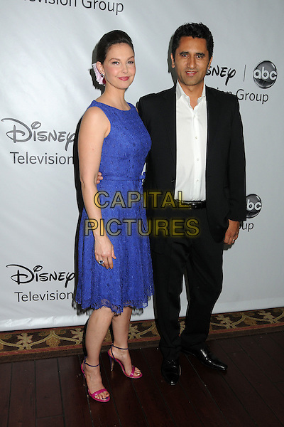 Ashley Judd & Cliff Curtis.Disney ABC 2012 TCA Winter Press Tour held at the Langham Huntington Hotel, Pasadena, California, USA..January 10th, 2012.full length blue sleeveless dress lace pink shoes black suit white shirt.CAP/ADM/BP.©Byron Purvis/AdMedia/Capital Pictures.