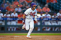 Kyle Wilkie (49) of the Clemson Tigers hustles down the first base line against the Duke Blue Devils in Game Three of the 2017 ACC Baseball Championship at Louisville Slugger Field on May 23, 2017 in Louisville, Kentucky. The Blue Devils defeated the Tigers 6-3. (Brian Westerholt/Four Seam Images)