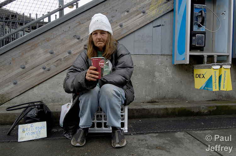 A homeless woman in Seattle.