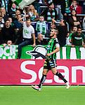 Stockholm 2014-06-18 Fotboll Superettan Hammarby IF - GAIS :  <br /> GAIS Shkelqim Krasniqi har gjort 1-0 och jublar framf&ouml;r Hammarbys supportrar<br /> (Foto: Kenta J&ouml;nsson) Nyckelord:  Superettan Tele2 Arena Hammarby HIF Bajen GAIS jubel gl&auml;dje lycka glad happy
