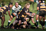 M. Robson looks to kick from behind a ruck. Counties Manukau Premier Club Rugby game between Bombay & Manurewa played at Bombay on Saturday June 14th 2008..Bombay won 19 - 12 after leading 12 - 0 at halftime.