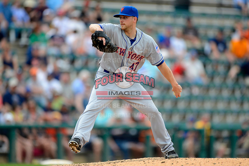 New York Mets pitcher Aaron Laffey #47 during a Spring Training game against the Detroit Tigers at Joker Marchant Stadium on March 11, 2013 in Lakeland, Florida.  New York defeated Detroit 11-0.  (Mike Janes/Four Seam Images)