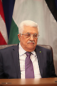 President Mahmoud Abbas of the Palestinian Authority meets withUnited States President Barack Obama (not pictured) after Obama addressed the 68th United Nations General Assembly in New York, New York on Tuesday, September 24, 2013.<br /> Credit: Allan Tannenbaum / Pool via CNP