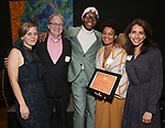 Kate Tarker, Douglas Aibel, Jeremy O. Harris, Charly Evon Simpson and Sarah Stern  during the Vineyard Theatre's Emerging Artists Luncheon honoring Charly Evon Simpson with the Paula Vogel Playwriting Award at the National Arts Club on November 25, 2019 in New York City.