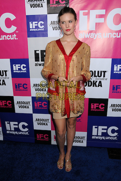MAGGIE GRACE.IFC's Independant Spirit Awards After Party at Shutters on the Beach Hotel, California, USA,.23 February 2008..full length gold red trim dress sandals shoes.CAP/ADM/BP.?Byron PurvisAdmedia/Capital Pictures