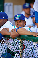Edwin Uceta (15) of the Ogden Raptors before the game against the Orem Owlz in Pioneer League action at Lindquist Field on June 21, 2017 in Ogden, Utah. The Owlz defeated the Raptors 16-5. This was Opening Night at home for the Raptors.  (Stephen Smith/Four Seam Images)