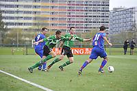 VOETBAL: HEERENVEEN: 07-11-2015, Heerenveense Boys - Zwaagwesteinde,   Wytze Pilat (#11), Sietze Bosma (#2), John Teijen (#3), Rene Vellinga (#9), uitslag 2-3, ©foto Martin de Jong