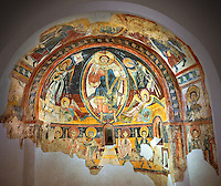 Romanesque frescoes depicting Christ Pantocrator and the Apostles from the Church of Sant Miguel d'Engolasters, Les Escaldes, Andorra.. Painted around 1160. National Art Museum of Catalonia, Barcelona. MNAC 15972