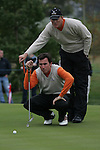 Robert Karlsson and Gonzalo Fernandez-Castano line up his putt on the 15th green during the 3rd round greensomes of the Seve Trophy at The Heritage Golf Resort, Killenard,Co.Laois, Ireland 29th September 2007 (Photo by Eoin Clarke/GOLFFILE)
