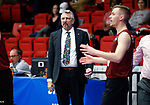 KENOSHA, WI - APRIL 28:  Stevens Institute's head coach Patrick Dorywalski gives his team direction at the Division III Men's Volleyball Championship held at the Tarble Athletic and Recreation Center on April 28, 2018 in Kenosha, Wisconsin. (Photo by Steve Woltmann/NCAA Photos via Getty Images)