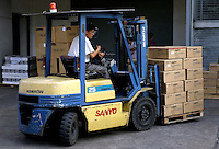 Loading bay of Japanese Sanyo electronics consumer goods factory, boxed DVD players in Shenzhen, China..04 Nov 2004