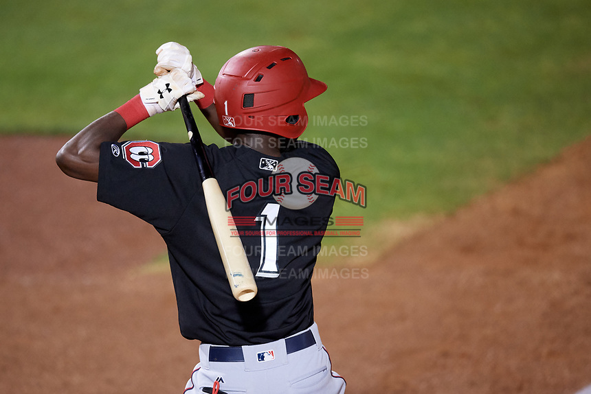 Chattanooga Lookouts shortstop Nick Gordon (1) at bat during a game against the Mobile BayBears on May 5, 2018 at Hank Aaron Stadium in Mobile, Alabama.  Chattanooga defeated Mobile 11-5.  (Mike Janes/Four Seam Images)