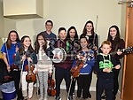 Pupils from Scoil Aohghusa pictured at the Trad Na Samhna music show in the Barbican Centre. Photo:Colin Bell/pressphotos.ie