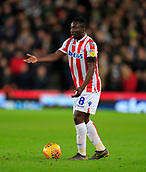 9th February 2019, bet365 Stadium, Stoke-on-Trent, England; EFL Championship football, Stoke City versus West Bromwich Albion; Peter  Etebo of Stoke City looks for options for a pass