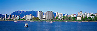 Vancouver, BC, British Columbia, Canada - City Skyline at West End and English Bay, Summer - Grouse Mountain (Coast Mountain Range) in background, Panoramic View