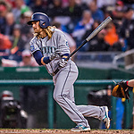 23 May 2017: Seattle Mariners infielder Taylor Motter at bat in the second inning against the Washington Nationals on a rainy day at Nationals Park in Washington, DC. The Nationals defeated the Mariners 10-1 to take the first game of their inter-league series. Mandatory Credit: Ed Wolfstein Photo *** RAW (NEF) Image File Available ***
