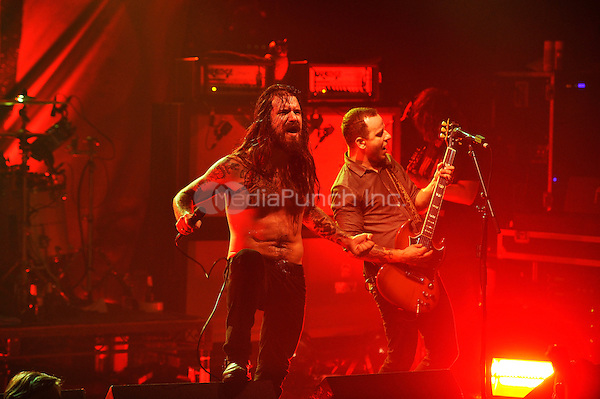 LONDON, ENGLAND - DECEMBER 5: Erlend Hjelvik and Maciek Ofstad of 'Kvelertak' performing at Electric Ballroom , Camden on December 5, 2016 in London, England.<br /> CAP/MAR<br /> ©MAR/Capital Pictures /MediaPunch ***NORTH AND SOUTH AMERICAS ONLY***