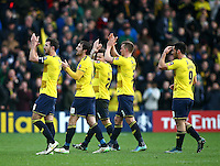 Jake Wright of Oxford United applauds the fans with team mates  during the Emirates FA Cup 3rd Round between Oxford United v Swansea     played at Kassam Stadium  on 10th January 2016 in Oxford