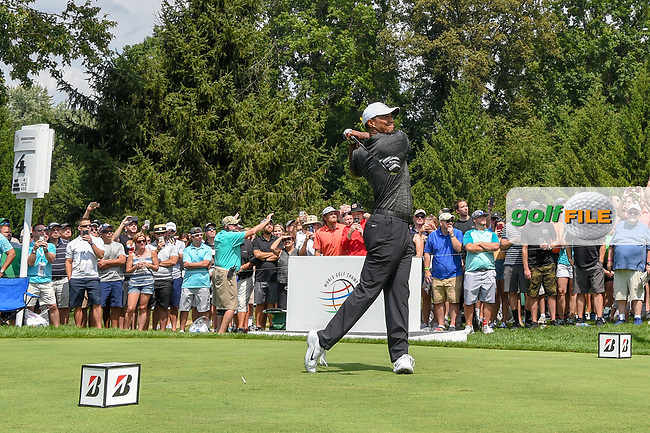 Tiger Woods (USA) watches his tee shot on 4 during 2nd round of the World Golf Championships - Bridgestone Invitational, at the Firestone Country Club, Akron, Ohio. 8/3/2018.<br /> Picture: Golffile | Ken Murray<br /> <br /> <br /> All photo usage must carry mandatory copyright credit (© Golffile | Ken Murray)