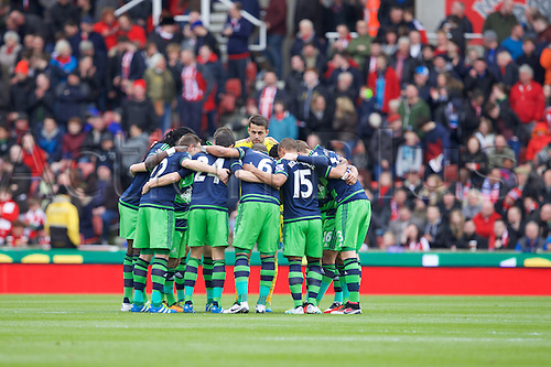 02.04.2016. Britannia Stadium, Stoke, England. Barclays Premier League. Stoke City versus Swansea City.  The Swansea team huddle pre-match.