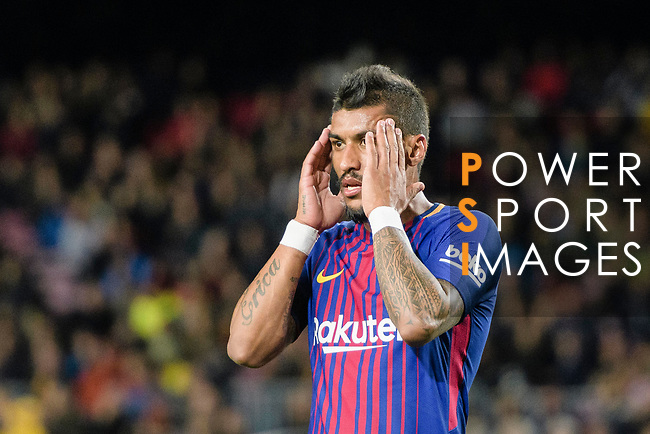 Paulinho Maciel of FC Barcelona reacts during the La Liga 2017-18 match between FC Barcelona and Deportivo La Coruna at Camp Nou Stadium on 17 December 2017 in Barcelona, Spain. Photo by Vicens Gimenez / Power Sport Images