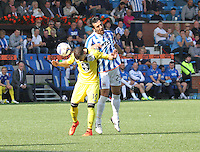 Manuel Pascali (29) beats James Marwood in the Kilmarnock v St Mirren Scottish Professional Football League Premiership match played at Rugby Park, Kilmarnock on 13.9.14.