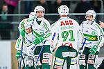 V&auml;ster&aring;s 2014-03-08 Bandy SM-semifinal 4 V&auml;ster&aring;s SK - Hammarby IF :  <br /> V&auml;ster&aring;s Jonas Nilsson har kvitterat till 1-1 och jublar med V&auml;ster&aring;s Pekka Rintala , V&auml;ster&aring;s Tobias Holmberg  och V&auml;ster&aring;s Johan Esplund <br /> (Foto: Kenta J&ouml;nsson) Nyckelord:  VSK Bajen HIF jubel gl&auml;dje lycka glad happy