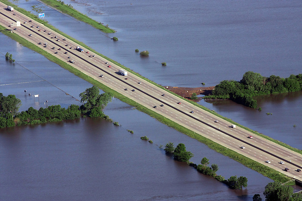 Interstate 35/80 north of Des Moines, Iowa is bookended by floodwater Saturday, June 14, 2008.