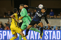 San Jose, CA - Saturday August 05, 2017: Zack Steffen, Nick Lima during a Major League Soccer (MLS) match between the San Jose Earthquakes and the Columbus Crew at Avaya Stadium.